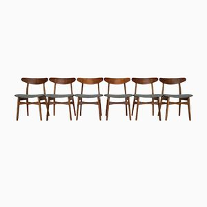 Mid-Century Oak & Teak Model CH-30 Dining Chairs by Hans J. Wegner for Carl Hansen & Søn, Set of 6