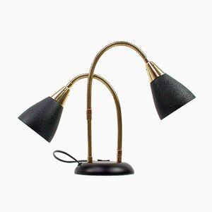 Vintage Italian Double-Gooseneck Table Lamp, 1950s