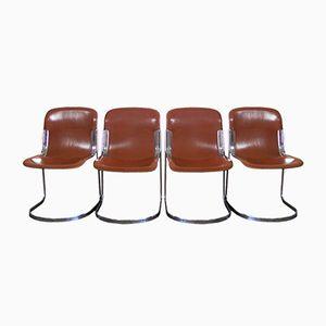 Italienische Vintage Satelleder Esszimmerstühle von Cidue, 4er Set