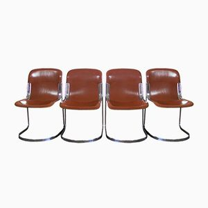 Vintage Italian Saddle Leather Dining Chairs from Cidue, Set of 4