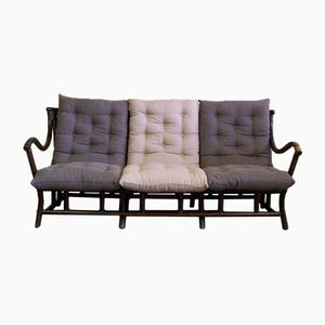 Vintage Rattan Sofa with Cushions