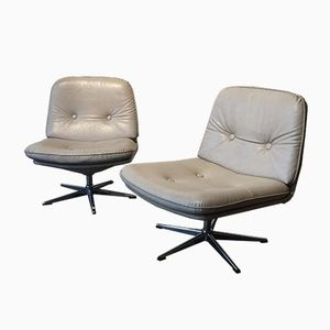 White Leather Side Chairs, 1970s, Set of 2