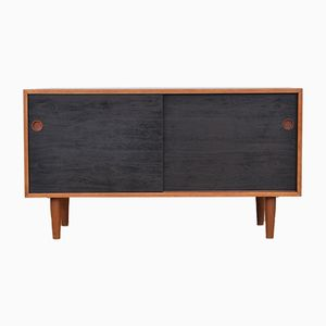 Vintage Danish Solid Teak Sideboard with Black Fronts