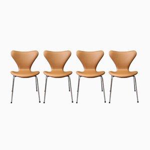 Modell Seven Lederstühle von Arne Jacobsen für Fritz Hansen, 1967, 4er Set