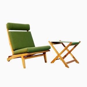 Fauteuil Lounge Pliable AP71 et Repose-Pied par Hans J. Wegner pour AP Stolen, Danemark, 1960s