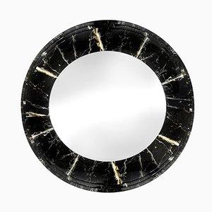 Runder Spiegel mit Kunstmarmor Rahmen, 1980er