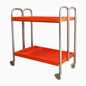 Orange Plastic Bar Trolley, 1970s