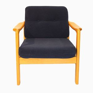 Scandinavian Navy Blue Velvet Armchair, 1960s