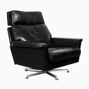 Vintage German Black Leather Lounge Chair from Profilia, 1960s
