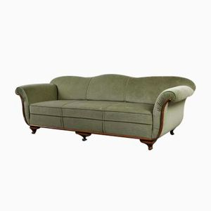 Art Deco Green Velvet Sofa