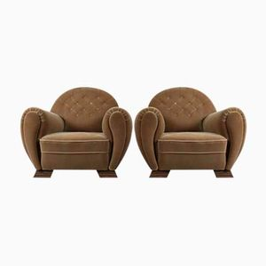 Art Deco Velvet Club Chairs, Set of 2