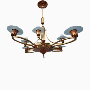 Vintage Brass, Copper & Frosted Glass Chandelier