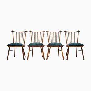 Vintage Wooden Dining Chairs, 1950s, Set of 4