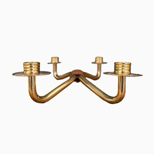 Mid-Century Leather-Covered Brass Candleholder