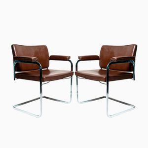 Vintage Bauhaus Stil Freischwinger von Robert Haussmann für de Sede, 2er Set