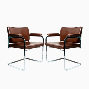 Vintage Bauhaus Style Bar Chairs by Robert Haussmann for de Sede, Set of 2