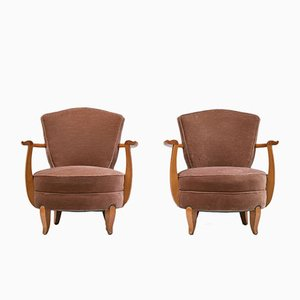 French Art Deco Cherry & Velvet Club Chairs, 1940s, Set of 2