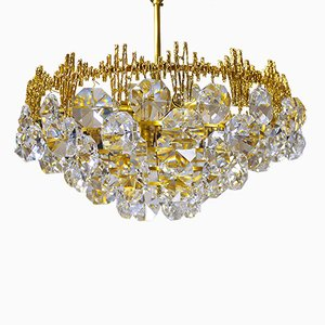 German Gilt Crystal Chandelier from Palwa, 1960s