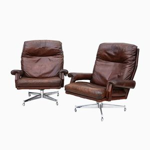 Leather Swivel Chairs, 1960s, Set of 2