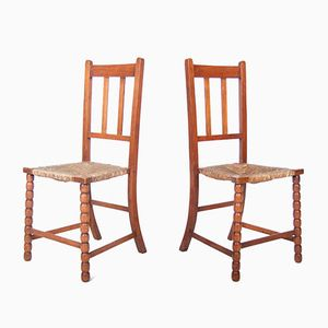 Victorian Oak Bobbin Rushwork Side Chairs, 1880s, Set of 2