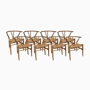 CH24-Y Wishbone Chairs by Hans Wegner for Carl Hansen & Søn, 1950s, Set of 8