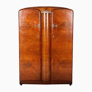 Art Deco Walnut Wardrobe Compactum, 1940s