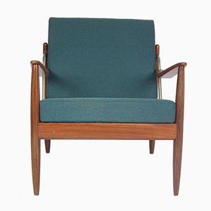 Mid-Century Teak & Blue Fabric Armchair