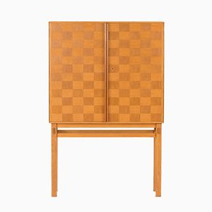 Swedish Checkered Oak Cabinet, 1950s