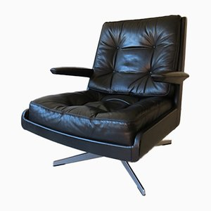 Danish Leather Lounge Swivel Chair, 1970s