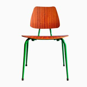 Vintage Plywood Children's Chair with Green Metal Base