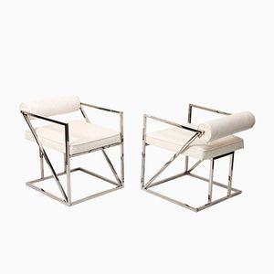 Vintage Sessel aus Straußenleder & Poliertem Stahl, 2er Set