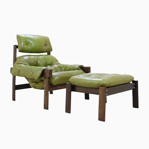 Model MP 041 Lime Green Leather Lounge Chair & Ottoman from Percival Lafer, 1961