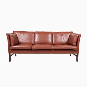Danish Brown Leather Three-Seater Sofa by Takashi Okamura & Erik Marquardsen for Skipper, 1980s