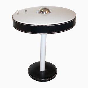 Vintage Tischlampe aus Schwarzem Leder von Louis Kalff für Philips