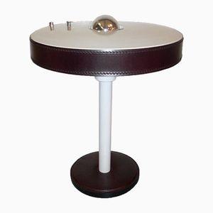 Vintage Tischlampe aus Braunem Leder von Louis Kalff für Philips
