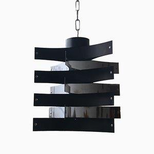 Mid-Century Italian Black Aluminium Pendant Light