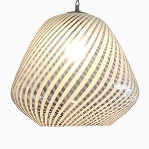 Large Spiral Stripe Glass Pendant Light, 1970s