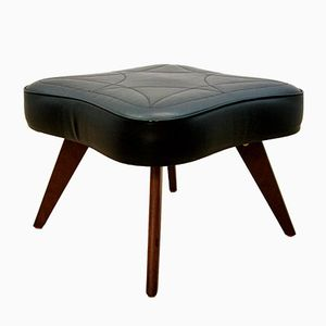 Danish Footstool in Rosewood and Black Leatherette, 1960s
