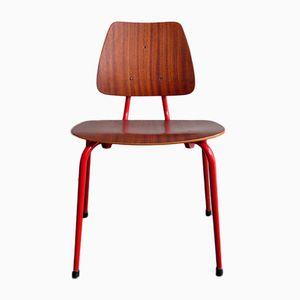 Sedia da bambino vintage in compensato con base in metallo rosso