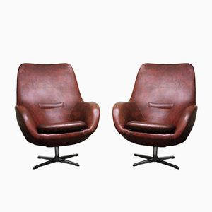 Bordeaux Egg Swivel Chairs, 1950s, Set of 2