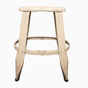 Vintage White Steel Stool from Nicolle