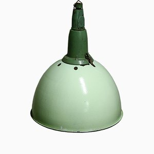 Green Industrial Pendant Light, 1950s