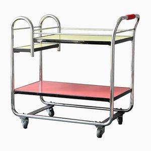 French Mid-Century Bar Trolley in Chrome-Plated Steel