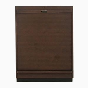 Mid-Century Brown Roll-Door Filing Cabinet from Ekawerke