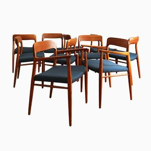 Vintage Model 56 & 75 Dining Chairs by Niels O. Møller for J.L Møllers Møbelfabrik, Set of 10