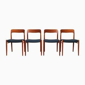 Mid-Century Model 75 Dining Chairs by Niels O. Møller for J.L Møllers Møbelfabrik, Set of 4