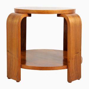 Art Deco Walnut Round Coffee Table, 1930s