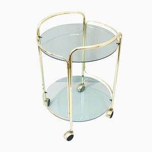 Vintage Glass and Gilded Metal Bar Cart