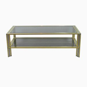 Vintage Chromed Metal and Gilded Brass Hollywood Regency Coffee Table, 1970s