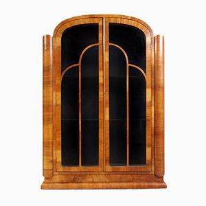 Art Deco Walnut Display Cabinet, 1930s